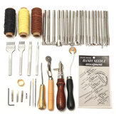 48 Pcs Leather Craft Tools Kit Costura à mão Costura Punch Carving Work Saddle