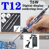 75W Mini Electric Soldering Iron Adjustable Temperature T12 Tip DC 12-24V Power Digital Display Soldering Iron DIY Handle Kit