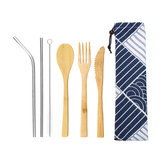 6Pcs/set Bamboo Wooden Cutlery Fork Spoon Cutter Straw Brush Flatware Tableware Camping Picnic
