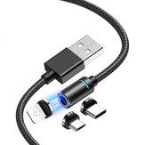 Bakeey 3A LED Magnético Type C Micro USB Cabo de dados de carregamento rápido para Huawei P30 Pro P40 Mi10 K30 Poco X2 S20 5G
