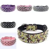 Pet Dog Cat Collar PU Leather Adjustable Rivet Bling Collar Necklacee Strap Buckle Dog Training Leash