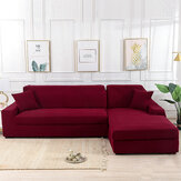 Red Stretch Elastic Sofa Cover Solid Non Slip Soft Slipcover Washable Couch Furniture Protector for Living Room