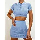 Women Solid V-neck Short Sleeve Knit Tops Mini Short Skirts Two Piece Set