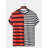 T-shirt casual a maniche corte in patchwork con stampa a strisce