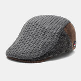 Men's Knit Fabric Stitching Retro Fashion Keep Warm In Autumn And Winter Knitted Flat Cap Beret Hat