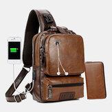 الرجال بو الجلود خمر متعددة الوظائف ثقب سماعة USB شحن حقيبة كروسبودي حقيبة الصدر حبال حقيبة