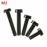 Suleve™ M2NC1 20pcs M2 Black Round Nylon Screws Cross Round Head Screws Bolt