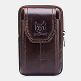 Bullcaptain Genuine Leather Vintage Zipper Phone Bag Waist Bag For Business Bag