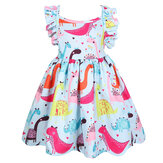 Summer Clothing Cartoon Dinosaur Printed Cotton Sleeveless Girls Dress