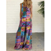 Women Vintage Cotton Floral Print Sleeveless Ethnic Style Loose Wide Leg Pocket Jumpsuits