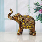 Golden Resin Elephant Ornaments Animal Craft Elephant Statue Wealth Figurine Gift Home Living Room  Decoration