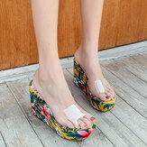 Women Summer Clear One Strap Wedges Heel Sandals