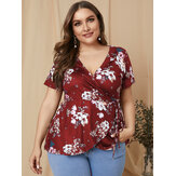 Plus Size Tie-up Design Floral Print Short Sleeve Elegant Blouse