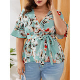 Plus Size Floral Print V-neck Short Sleeve Holiday Casual Blouse