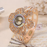 Crystal Flower Shape Dial Hollow Strap Quartz Watch