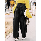 Women Drawstring Hight Waist Striped Loose Casual Wide Leg Pants With Pockets