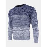 Mens Ombre Crew Шея Повседневный пуловер с длинными рукавами стандартного кроя