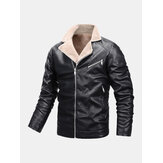 Mens Windproof Multi Pocket Warm PU Leather Biker Jacket