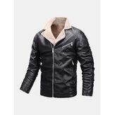 Veste de motard en cuir PU chaud coupe-vent pour hommes