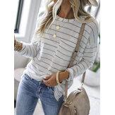 Kadın Classic Çizgili Göğüs Cebi Gevşek Uzun Kollu Bluzlar