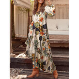 100% Cotton Women Plant Floral Print V-Neck Pocket Button Vintage Long Sleeve Maxi Dresses