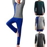 Men's Long Sleeve Pajama Set Casual Comfy Breathable Sleepwear Suit Nightwear Sport Wear