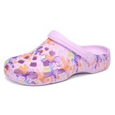 SOCOFY Women Butterfly Floral Waterproof Non-slip Hollow Slide Sandals