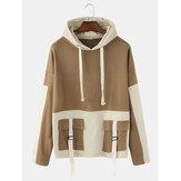 Heren patchwork drop mouwen losse casual trekkoord hoodies met klepzakken