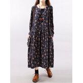 Dames bloemenprint geplooide maxi-jurken met lange mouwen