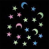 20 Adet Ay Yıldız Noctilucence Duvar Çıkartması Colorful Floresan Ev Çocuk Odası Dekor Hediye