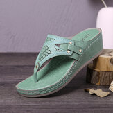 LOSTISY Women Handmade Stitching Hollow Clip Toe Casual Comfy Sandals