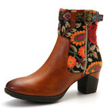 SOCOFY Ladies Causal Floral Pattern Buckle Deco Splicing Round Toe Block Heel Ankle Boots