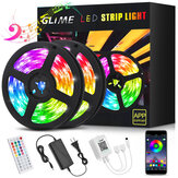 RGB Led Strip Lights GLIME 10m Led Strips with App Controlled & Music Sync 5050 Flexible Color Changing Led Strip Lights 44 Keys IR Remote for Bedroom Kitchen Party Bar DIY Decoration Christmas Decorations Clearance Christmas Lights