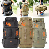 80L Camping Hiking Canvas Backpack Mountaineering Travel Rucksack Trekking Bag