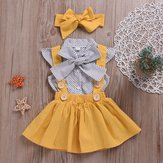 Polka Dot Girls Top + Bow + Dress Tre-Piece Set för 2Y-5Y