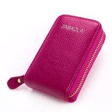 Women Men Genuine Leather Wallet 10 Card Slots Coins Bag