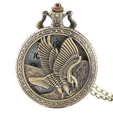 DEFFRUN Vintage Eagle Wings Pattern Quartz Pocket Watch