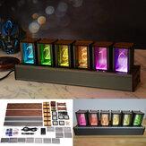 RGB Sözde kızdırma Tüp Saat DIY Kit LED Masaüstü Yaratıcı Dekorasyon Arkadaş Hediye Ceviz Vintage Dijital Süsler