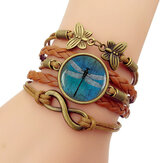 Retro Amber Blue Dragonfly Braided Bracelet Time Gemstone Infinite Symbol Printed Leather Bracelet