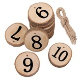 10Pcs/Lot Laser Engraving Wooden Number Hanging Table Cards Wedding Party Decor Reception Pendant