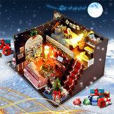 T-Yu DIY Takımları Noel Ev Dekorasyonu Minyatür Ahşap Doll Ev Mobilyaları Model Montajı