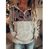 Mujeres Estilo étnico Estampado Gypsy Patchwork Half Button Up Fleece Pullover Capucha