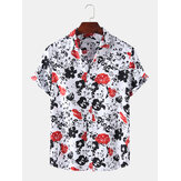 Herren abstrakte Blumendruck Turn Down Kragen Hawaii Casual Kurzarm Shirts