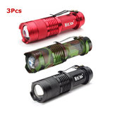3 stk 3Colors MEKA Q5 500LM Multicolor Zoombar Mini LED lommelygte 14500 / AA