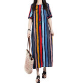 ZANZEA Striped Pockets Cotton Dress