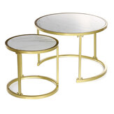 2Pcs Nested Coffee Table Set Imitation Marble Round Metal Frame Side Bedside Table Small Laptop Desk