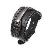 Punk Genuine Leather Bangle Chain Handmade Alloy Woven Wide Adjustable Men Bracelet