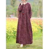 Frauen Blumendruck O-Ausschnitt Langarm Bohemian Holiday Maxi Kleid Mit Tasche