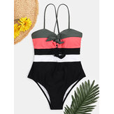 Women Swimwear Color Block Tie Front Tie Back One Piece