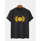 Heren Sun Print T-shirts met ronde hals en korte mouwen